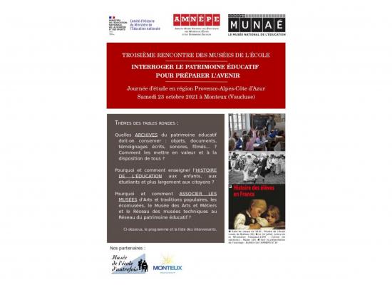 3ème rencontre des musées de l'école : interroger le patrimoine éducatif pour préparer l'avenir